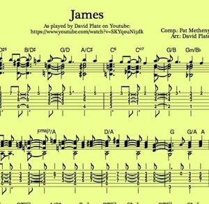 JAMES (Pat Metheny) Guitararr. by David Plate - TABs + Score