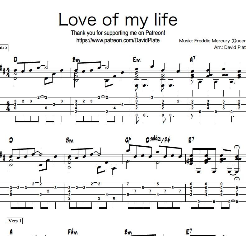 Love of my life queen tablatura