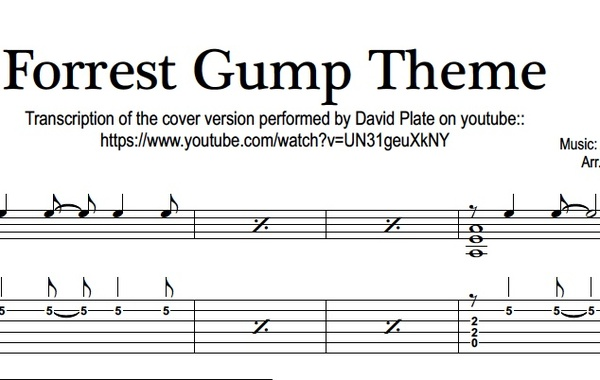 FORREST GUMP THEME - Fingerstlye Guitar - TABs + Notation