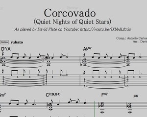 CORCOVADO (QUIET NIGHTS OF QUIET STARS) Guitar Arrangement by David Plate (SCORE + TABs)