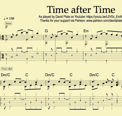 TIME AFTER TIME (Cyndi Lauper) - Guitar Fingerstyle Tutorial by David Plate