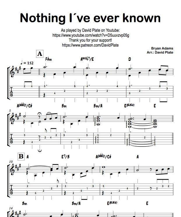 NOTHING I´VE EVER KNOWN (Bryan Adams) TABs + Score - G - David Plate