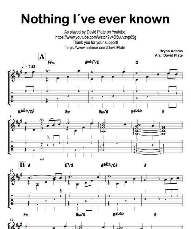 NOTHING I´VE EVER KNOWN (Bryan Adams) TABs + Score - Guitar Arrangement