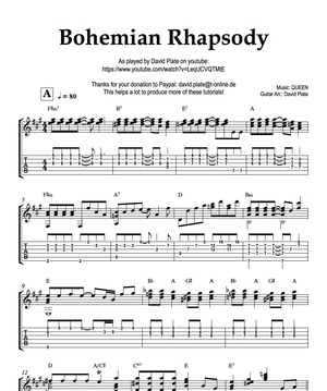 BOHEMIAN RHAPSODY (Queen) Tutorial for Fingerstlye Guitar