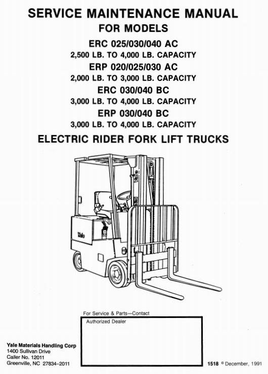 yale electric fork truck type ac, bc erp 020, erc p 0 Trucks Yale Hand Motorized Mb040ab yale electric fork truck type ac, bc erp 020, erc p 025