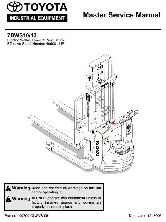 Toyota Electric Walkie Low-Lift Pallet Truck: 7BWS10, 7BWS13 SN: 40500 on toyota wiring harness, toyota shop manual, toyota cylinder head, toyota parts diagrams, toyota flasher relay, toyota ecu reset, toyota electrical diagrams, toyota 22re vacuum line diagram, toyota maintenance schedule, toyota truck diagrams, toyota wiring manual, toyota alternator wiring, toyota wiring color codes, toyota headlight wiring, toyota cooling system diagram, toyota shock absorber replacement, toyota ignition diagram, toyota headlight adjustment, toyota diagrams online, toyota schematic diagrams,