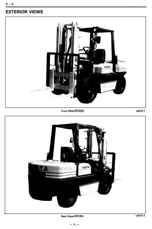 Toyota LPG/Diesel Forklift Truck:5FG/FD33, 5FG/FD35, 5FGE35, 5FG/FD40,  5FG/FD45 Service Manual
