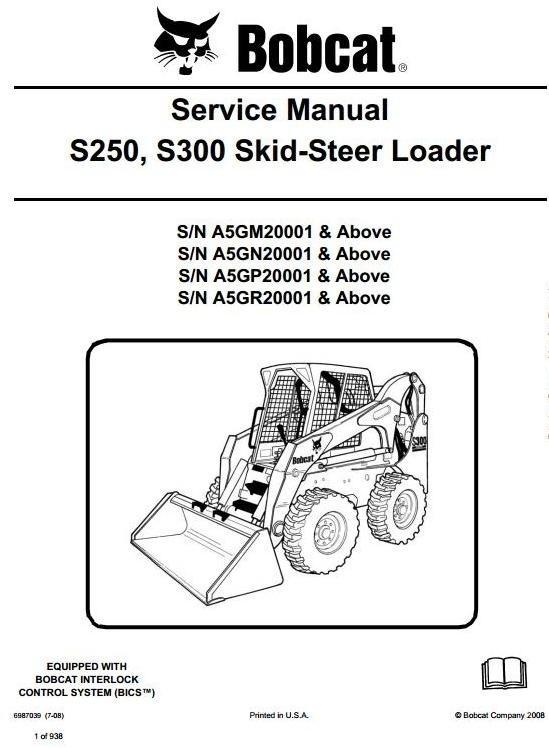 Bobcat Skid Steer Loader S250  S300  S  N A5gm  A5gn  A5g
