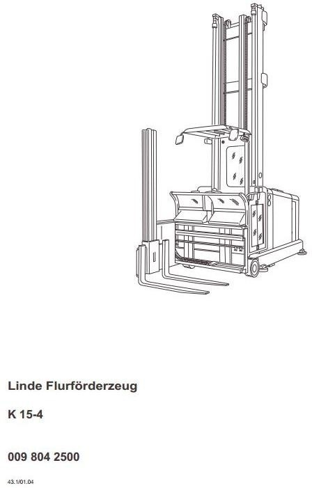 Linde Truck Type 009: K15-4 Operating Instructions (Us