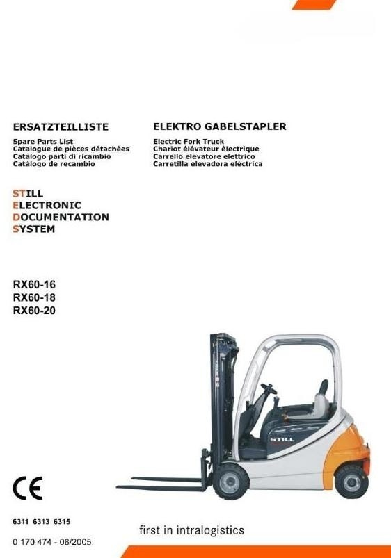 Still Electric Lift Truck Type RX60-16, RX60-18, RX60-20: R6311, R6313, R6315 Spare Parts Manual