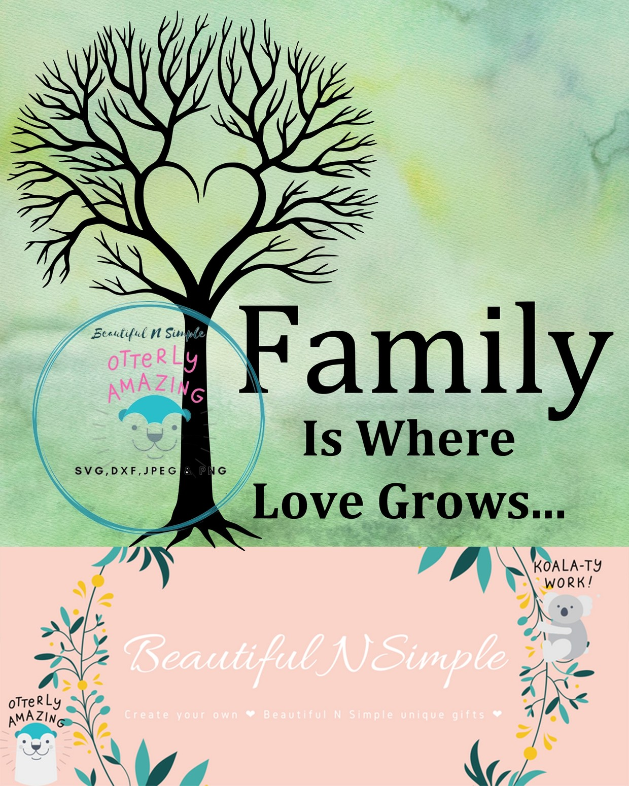 Family Is Where Love Grows Family Tree Svg Dxf File Beautifulnsimple
