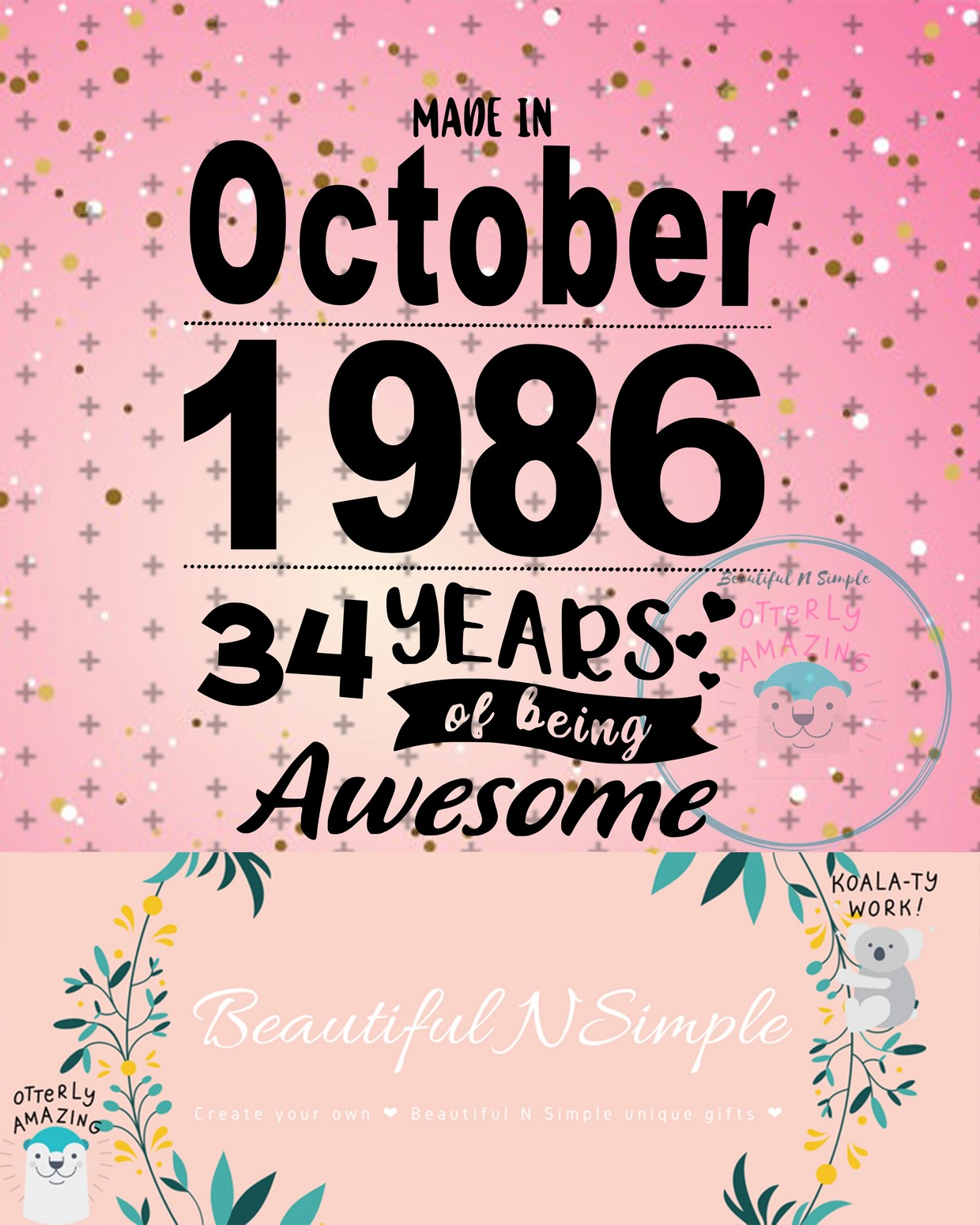 Made In October 1986 34 Years Of Being Awesome Svg And Beautifulnsimple
