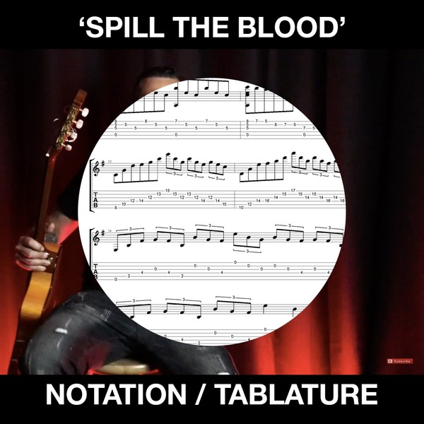 SPILL THE BLOOD (Slayer) - Solo Guitar (Standard Notation and Tabs)