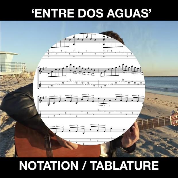 Entre dos Aguas (Paco de Lucia) - FOR SOLO GUITAR - Tabs and Notation