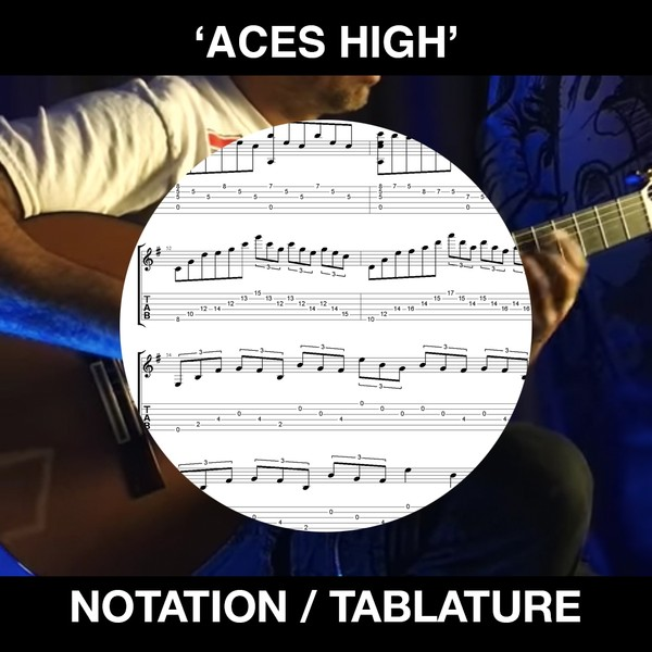 ACES HIGH (IRON MAIDEN) w/ solos - for solo guitar - FREE TABS