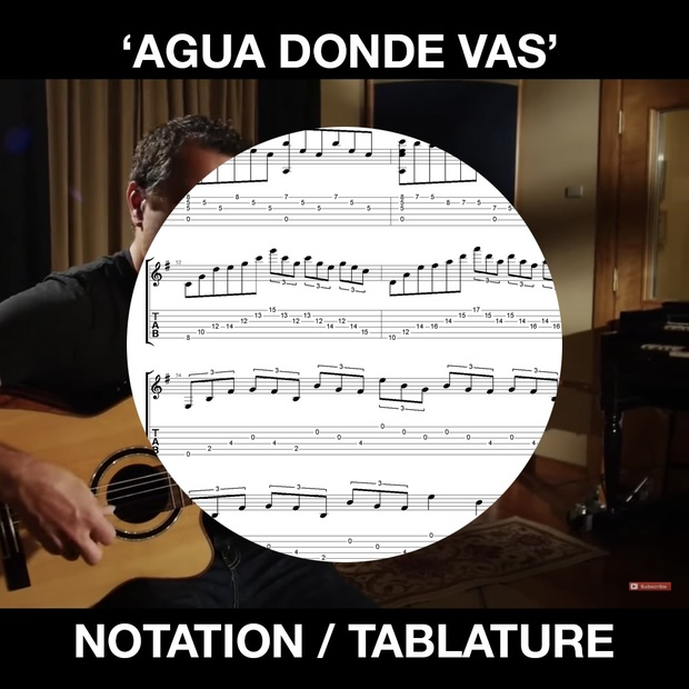 AGUA DONDE VAS - SOLO GUITAR NOTATION AND TABS