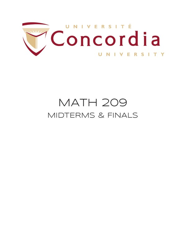 MATH 209 FINALS & MIDTERMS (32 EXAMS)