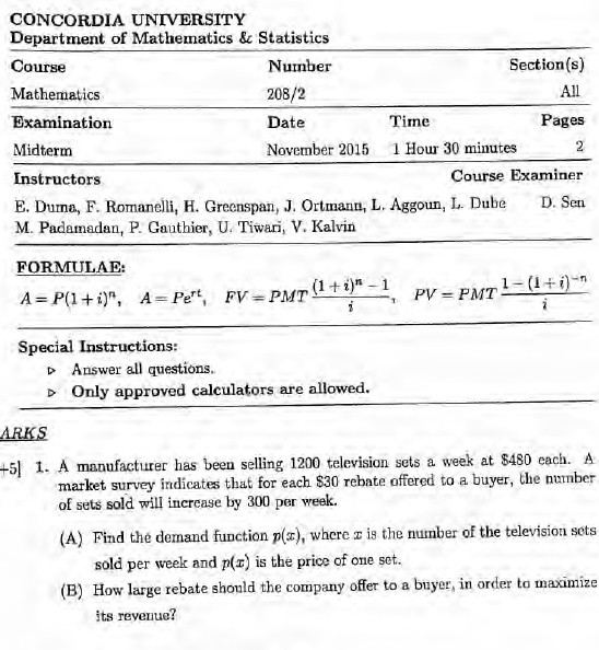 MATH 208 FINALS & MIDTERMS (20 EXAMS)