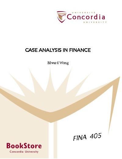CASE ANALYSIS IN FINANCE ECOURSEPACK