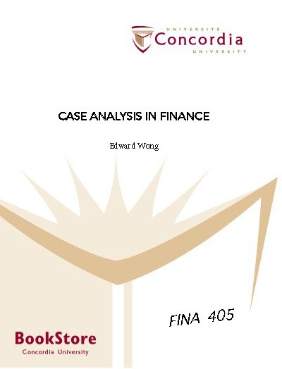 CASE ANALYSIS IN FINANCE ECOURSEPACK