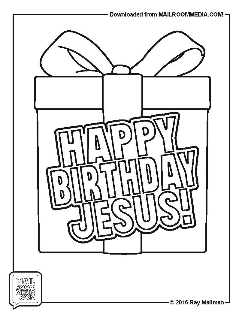 Coloring Page HAPPY BIRTHDAY JESUS - mailroommedia