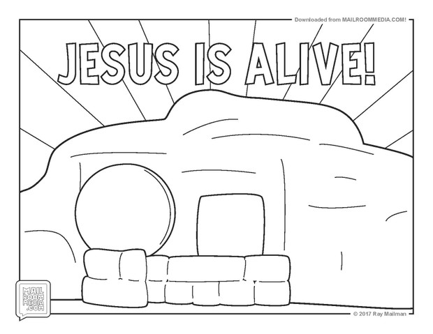 Coloring Page EASTER JESUS IS ALIVE