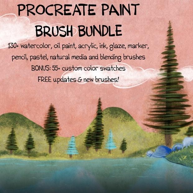 150+ WATERCOLOR, OIL PAINT & NATURAL MEDIA Paint Brush Bundle for Procreate
