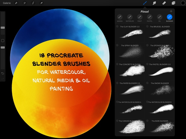 24+ Procreate BLENDER Brushes for WATERCOLOR, PASTEL & OIL PAINTING