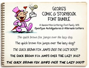 Georg's COMIC FONTS: 11 Handwritten Lettering Font Bundle (OTF, TTF, SVG, DFONT)