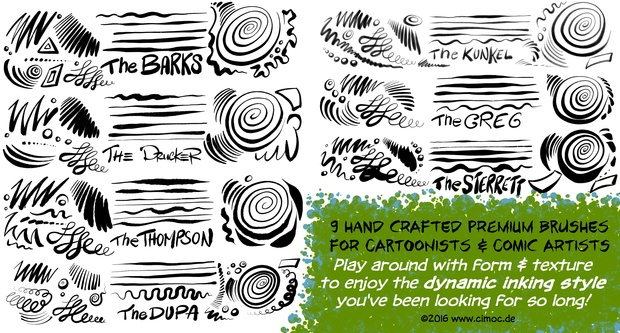 COMIC & CARTOON Ink Set #2 - 22+ Premium Inking Brushes for Procreate