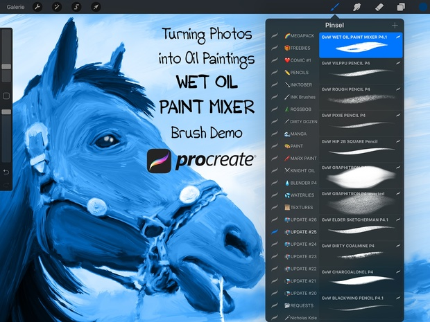 WET OIL PAINT MIXER Brush for Procreate (Turning Images into Oil Paintings)