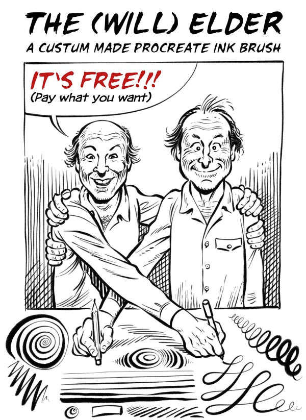 FREE Comic Ink Brush Set for Procreate: 16+ Inking and SFX Brushes