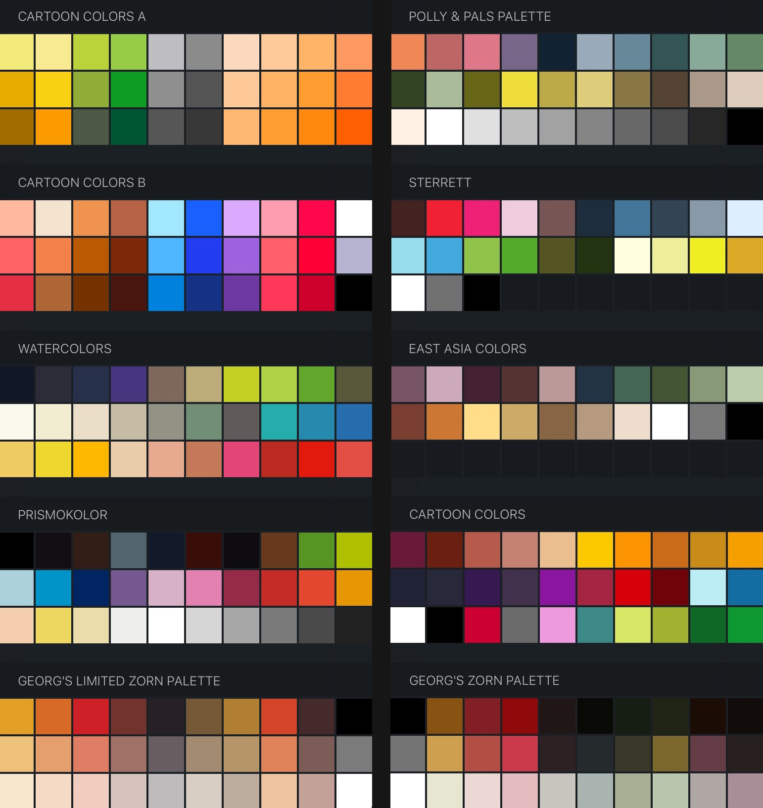 Free Procreate Color Swatches 35 Palettes For Painti Georg S Procreate Brushes