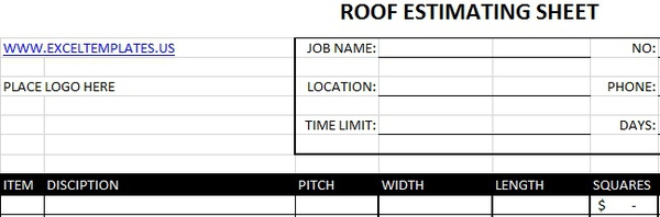 Roof Estimating Sheet