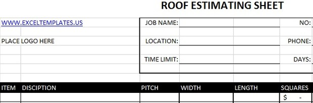 Roof Estimating Sheet