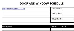 Door and Window Schedule
