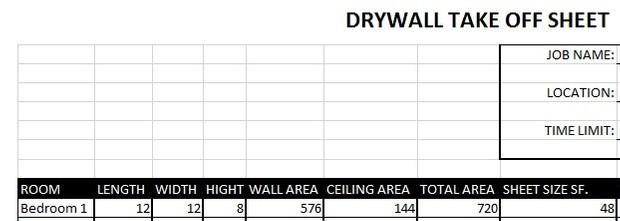 Drywall Take off Sheet