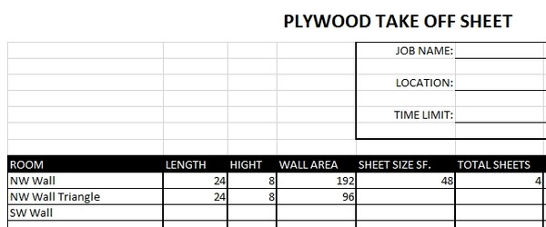 Plywood Take Off Take Sheet