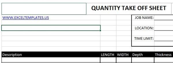 Quantity Take off Sheet