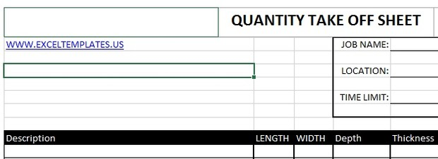 quantity take off sheet excel templates