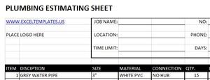 Plumbing Estimating Sheets