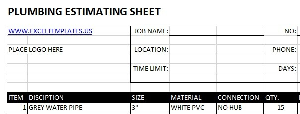 Plumbing Estimating Sheets