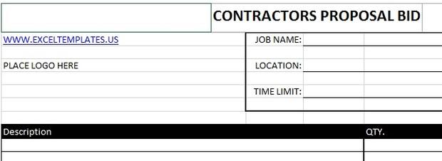 Contractor's Proposal Bid