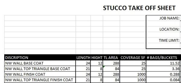 Stucco Bid Sheet