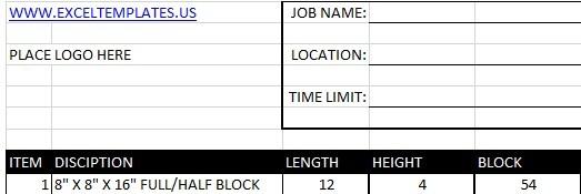 Masonry Estimating Sheet