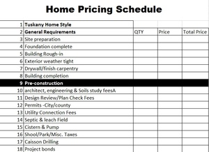 Home Construction Sheet
