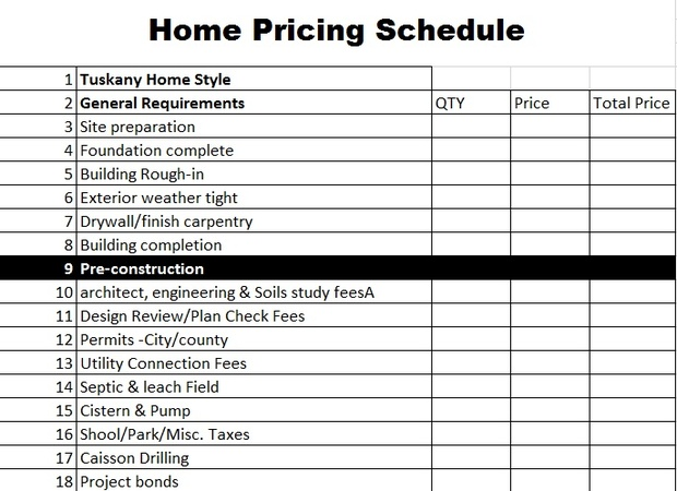 Home Construction Sheet