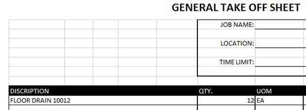 general takeoff sheet excel templates
