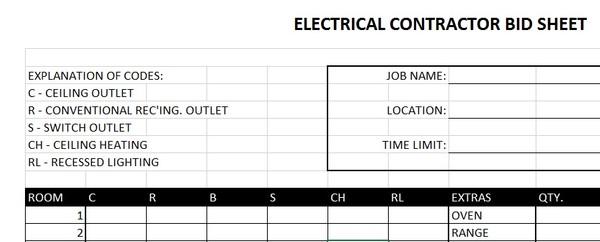Electrical Contractor Bid Sheet