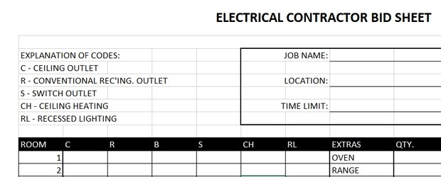 electrical contractor bid sheet excel templates